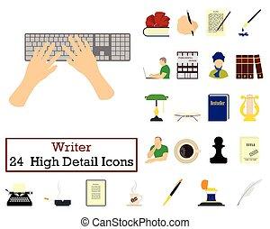 24, scrittore, set, icone