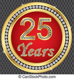 25, anniversario, anni, birthda, felice