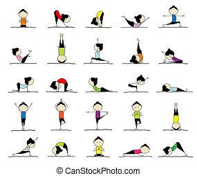 25, donna, attivo, yoga, disegno, pose, tuo