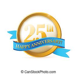 25, nastro, anniversario, illustrazione, sigillo
