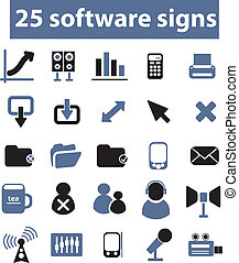 25, vettore, segni, software