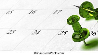 26, puntina da disegno, indicare, stanza, testo, immagine, numero, verde, calendario, lato, sinistra