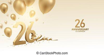 26th, anniversario, fondo, celebrazione
