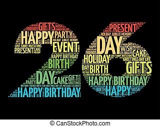 26th, compleanno, parola, nuvola, felice