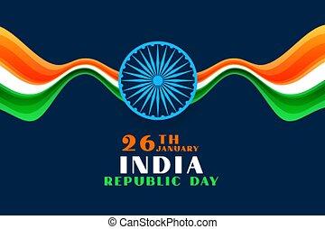 26th, india, giorno, ondulato, felice, fondo, repubblica, gennaio, bandiera