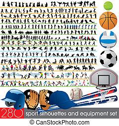 280, silhouette, sport, apparecchiatura