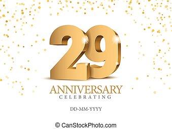 29., anniversario, numbers., oro, 3d