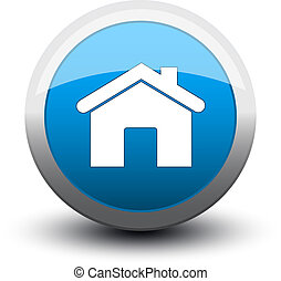 2d, casa, bottone, blu