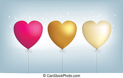 3, cuore, metallico, palloni