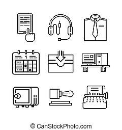3, roba, set, ufficio, icona