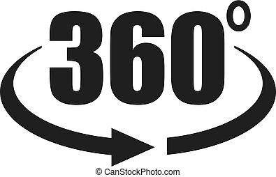 360, vista, grado, icona