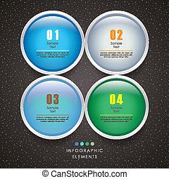 3d, astratto, vettore, cerchio, infographics