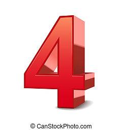 3d, baluginante, 4, rosso, numero