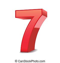 3d, baluginante, numero 7, rosso