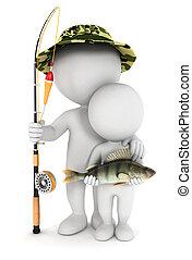 3d, bianco, figlio, pesca, persone