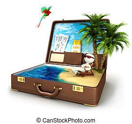 3d, bianco, persone, paradiso, valigia