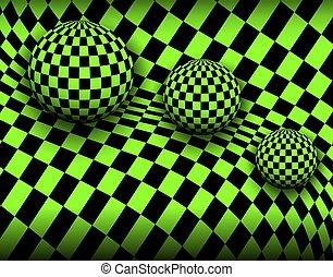 3d, checkered, fondo, sfere
