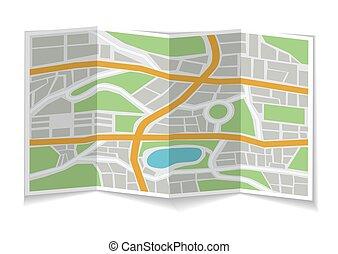 3d, città, map., piegato, illustrazione
