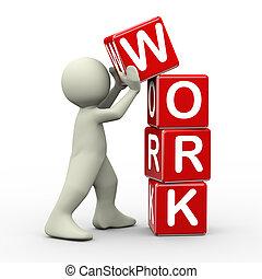 3d, collocazione, lavoro, cubi, uomo