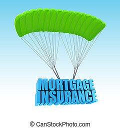 3d, concetto, assicurazione, illustrazione, ipoteca