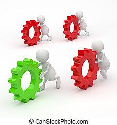 3d, concetto, ingranaggi, successo, persone