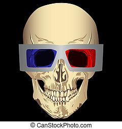 3d, cranio, occhiali