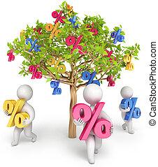 3d, crescita, affari, render, persone