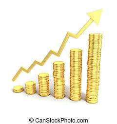 3d, crescita, concetto, finanziario