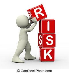 3d, cubi, collocazione, rischio, uomo