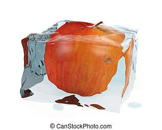 3d, cubo, mela, ghiaccio, rosso