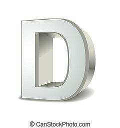 3d, d, lettera, argento