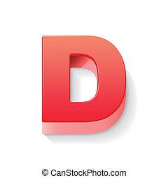 3d, d, lettera, rosso
