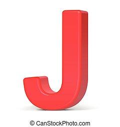 3d, j, rosso, lettera, plastica