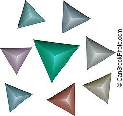 3d, multicolor, piramidi