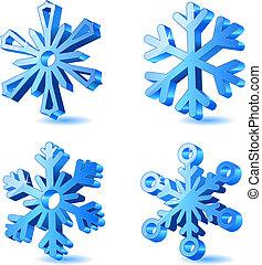 3d, natale, vettore, fiocco di neve, icone
