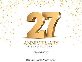 3d, numbers., anniversario, 26., oro