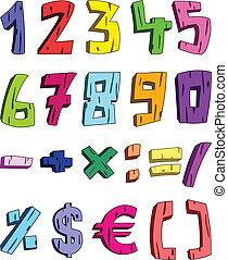 3d, numeri, cartone animato