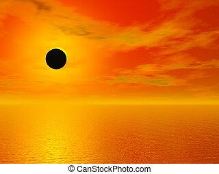 3d, oceano, sopra, -, eclissi, solare, render