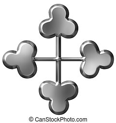3d, ornamento, croce, argento