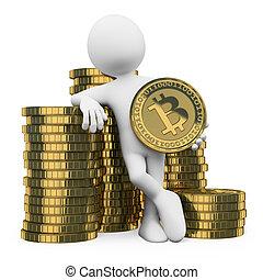 3d, persone., bitcoin, bianco