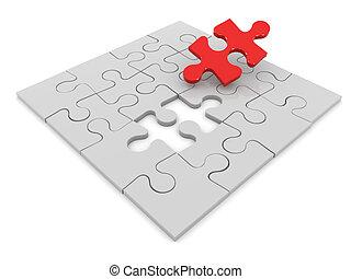 3d, puzzle, jigsaw, finale, pezzo