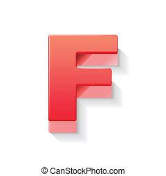 3d, rosso, lettera f