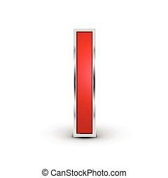 3d, rosso, lettera, metallico