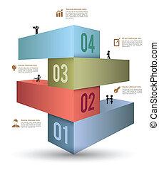 3d, sbarra, opzioni, infographics