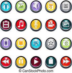 3d, smussatura, vettore, multimedia, icone