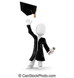 3d, studente, graduazione, uomo