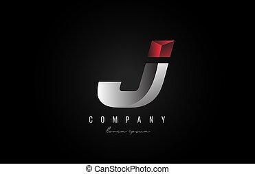 3d, styling, disegno, logotipo, alfabeto, affari, creativo, lettera, argento, ditta, color., j, grigio, icona, rosso