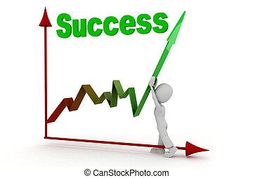 3d, successo, uomo affari