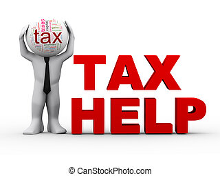 3d, tassa, aiuto, uomo