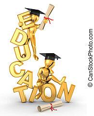 3d, uomo, education., testo
